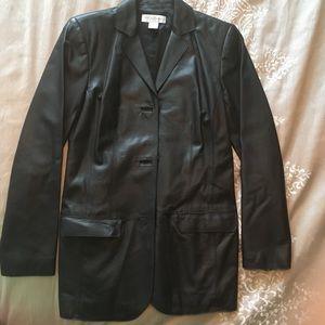 Brooks Brothers Black Leather Blazer